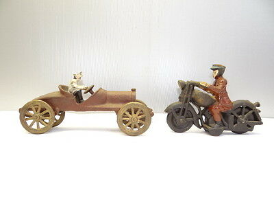 Vintage Reproduction Metal Cast Iron Early Motorcycle Automobile Rolling Toys