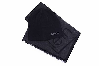 Calvin Klein CK Reversible Beanie Hat & Scarf Set New 2016 Black & Charcoal