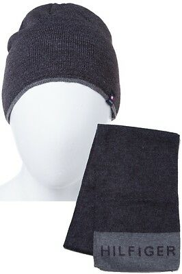 Tommy Hilfiger Beanie Hat & Scarf Set New  Black & Charcoal Great Gift