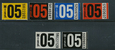 Mississippi 2005 6 Different License Plate Stickers, Unused On Original Backing!