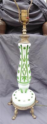 Vintage Bohemian Cased Glass Cameo Cut To Green Table Lamps