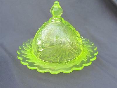 Vintage L. G. Wright Vaseline Glass Domed Butter Dish Wreathed 3 Cherry EUC