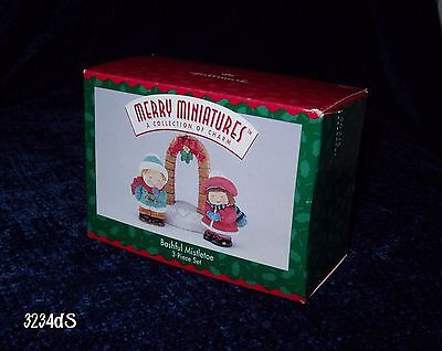 Hallmark Holidays 1996 Merry Miniatures BASHFUL MISTLETOE 3-Piece Set NEW in Box