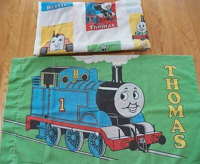 Vintage 1992 Thomas the Tank Engine TWIN SHEET Fitted & Pillowcase Bed Bedding