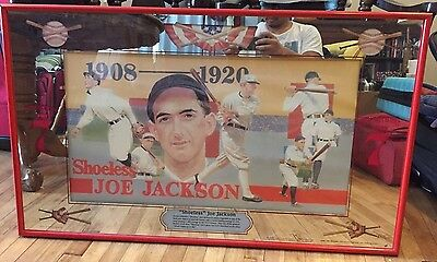 "Vintage ""Shoeless"" Joe Jackson Seagram 7 Framed Bar Mirror"
