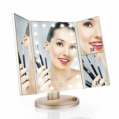 Easehold Tri-Fold 21 LED Light Touch Screen Makeup Mirror Cosmetic Vanity Mirror
