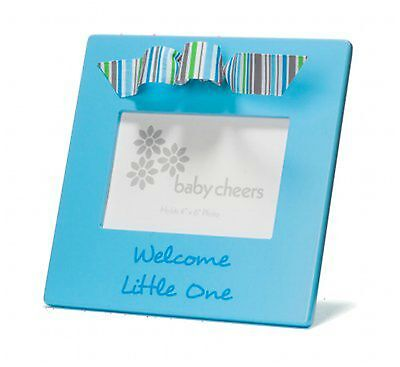 Picture Photo Frame Blue Welcome Little One Baby Boy Ribbon Decor Gift Box