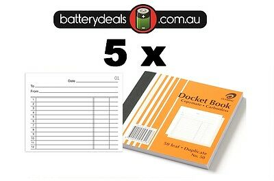 5 x Olympic Docket Book No50 Carbonless 100x125mm #50 140990 Duplicate No. 50