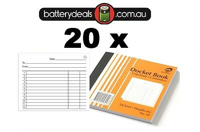 20 x Olympic Docket Book No50 Carbonless 100x125mm #50 140990 Duplicate No. 50