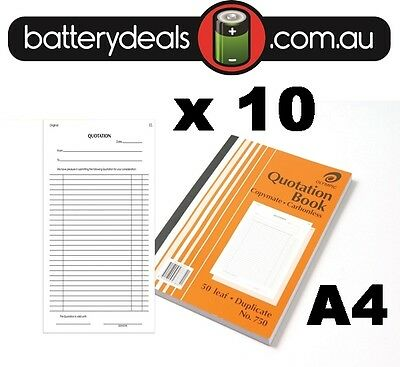 10 x Olympic Quotation Book A4 Carbonless Duplicate No.750 #750 140880 Quote