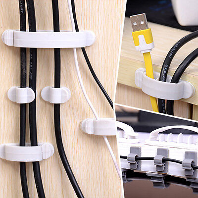 10x Cable Wire Cord Organizer Drop Clip Desk Tidy Holder Management Line FixerR