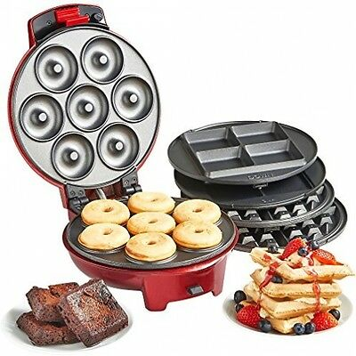 VonShef 3in1 Waffle Brownie Mini Doughnut Donut Sweet Snack Maker Machine