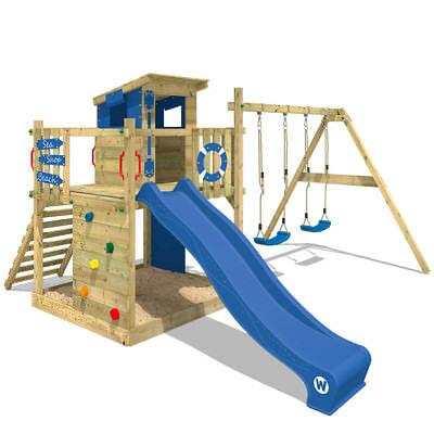 WICKEY Smart Camp Wooden Climbing Frame PlayTower TreeHouse DoubleSwingSet Slide