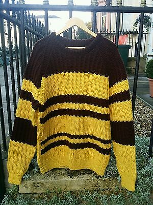 Vtg Chunky Cable Wool Striped Punk Ramones Beatnik Andy Warhol Jumper.Med-Large