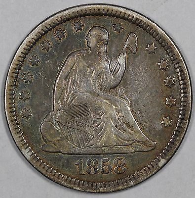 1858 25C Liberty Seated Quarter UNSLABBED