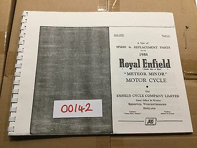 Royal Enfield 1958 Meteor Minor Parts List .142 (3-54)