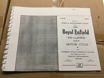 Royal Enfield 1958 350 Clipper Parts List .141 (3-54)