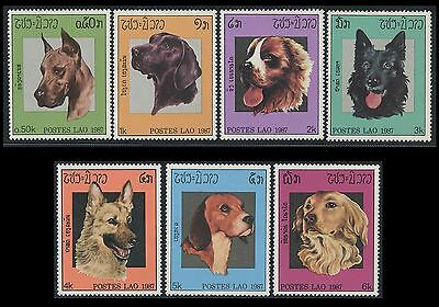 LAOS N°770/776**  Chiens 1987, dogs Sc#774-80 MNH