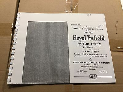 Royal Enfield 1957-58 Ensign II & Ensign III Parts List .138 (3-54)