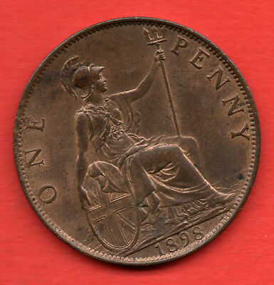 1898 QUEEN VICTORIA VEILED HEAD PENNY COIN. VICTORIAN 1d. ONE PENNY. HIGH GRADE.