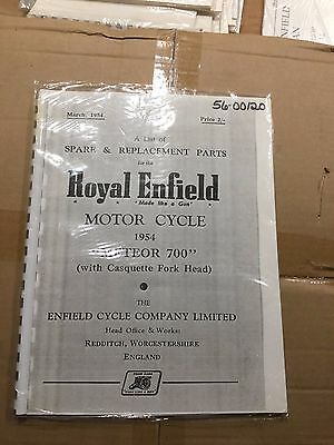 Royal Enfield Indian 1954 Meteor 700 Parts List .120 (3-54)