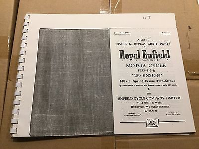 Royal Enfield 1953-55 150 Ensign Parts List 117 (3-54)