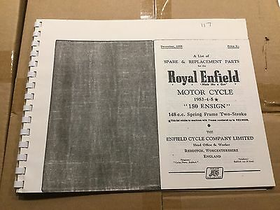 Royal Enfield 1953-55 150 Ensign Parts List 56-00117 [3-86]