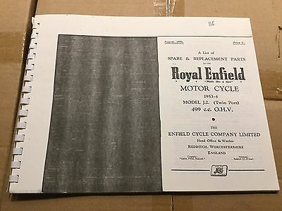 Royal Enfield 1953-54 500 Model J2 Parts List 116 (3-54)
