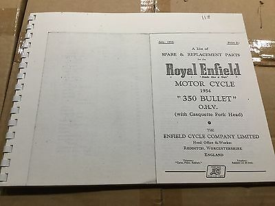 Royal Enfield 1954 350 Bullet Parts List 118 (3-54)