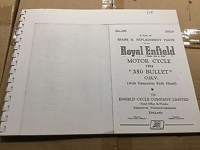 Royal Enfield 1954 350 Bullet Parts List 56-00118 [3-86]