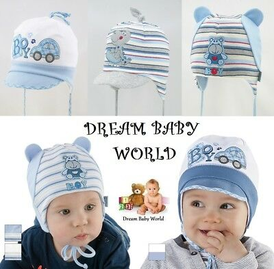 Cotton boys hat spring autumn 0 - 12 months TIE UP NEW with tags! BABY BOY