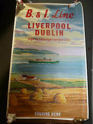 1965 Original Travel  Poster B & I Line from Liverpool to Dublin