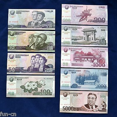 Korea 5- 5000 Won. Commemorative edition. UNC. 9PCS free shipping! !
