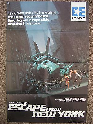 escape from new york (1982) uk video shop film poster - john carpenter