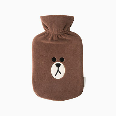 [LINE FRIENDS] Rubber Hot Water Bottle with BROWN Cover +Tracking