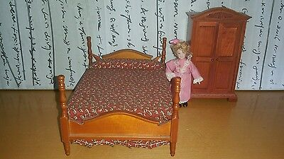 Bedroom set with doll 12th scale doll house  furniture
