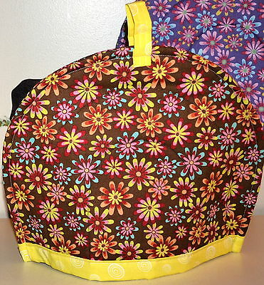 """TEA COZY-Floral on Brown trimmed in Yellow, HANDCRAFTED in USA,QUILTED,11""""Wx13""""L"""