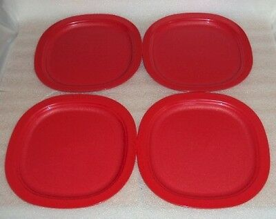 Tupperware Impressions Microwave 9 Inch Luncheon Plates Red Microwave Reheatable