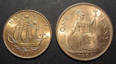 1967 Great Britain Penny and Halfpenny 50 years old UNC pair
