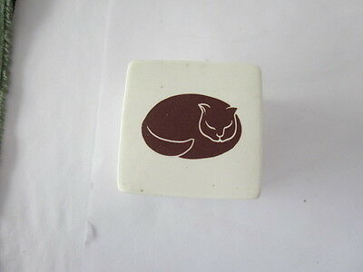 vintage  Nancy  Lopez  Brown  Cat   ceramic  box