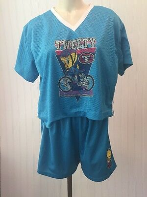 Vintage 1997 Tweety Bird Mesh Outfit Shirt Shorts Gym Clothes Aqua Blue Large