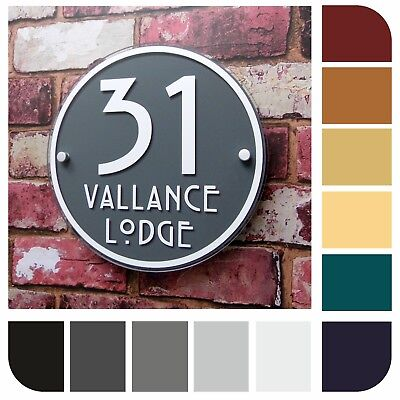 HOUSE SIGNS / MODERN ADDRESS PLAQUES DOOR NUMBER ROUND HANDMADE Property Plate