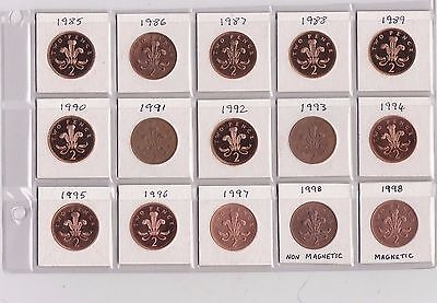 15 Base Metal Two Pence Coins 1985 To 1998 In Near Mint Condition
