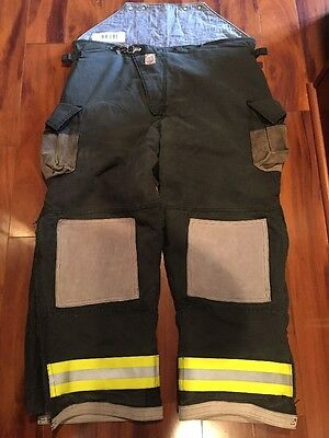 Firefighter Turnout Bunker Pants Cairns 50x32 BLACK Bib EUC Halloween Costume