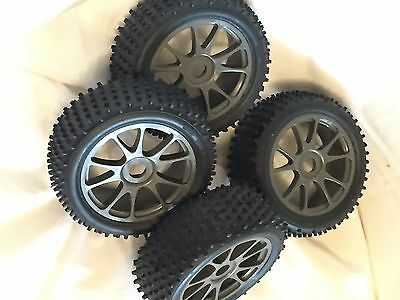 KYOSHO INFERNO NEO, MP7.5 SPORTS, 4 x NEW GREY BUGGY WHEELS & TYRES, 17mm, BSW40