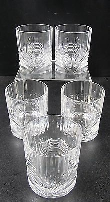 Set Of 5 Crystal / Cut Glass Whiskey Tumblers With Pattern Detail Size 3.5 Tall