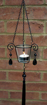Hanging Glass Beaded Lantern Tea Light Holder Contemporary Chic Gothic Black New