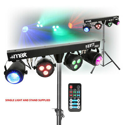 DJ Party Disco Lights Partybar MoonFlower PAR T-BAR Stand DMX Music Activated