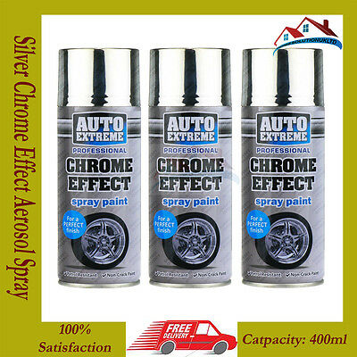 3 X Silver Chrome Effect Aerosol Spray Cans Cars Bikes Auto Spray Paint 400ML