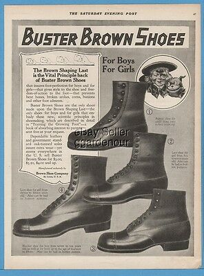 1918 Buster Brown Shoe Co St Louis Missouri Tige Dog For Girls Boys Fashion Ad